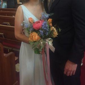 Kenneth Winston 5287L Bridesmaid Dress blue fabric